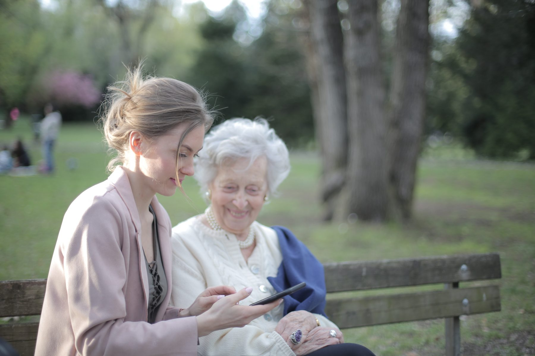 Old woman and daughter