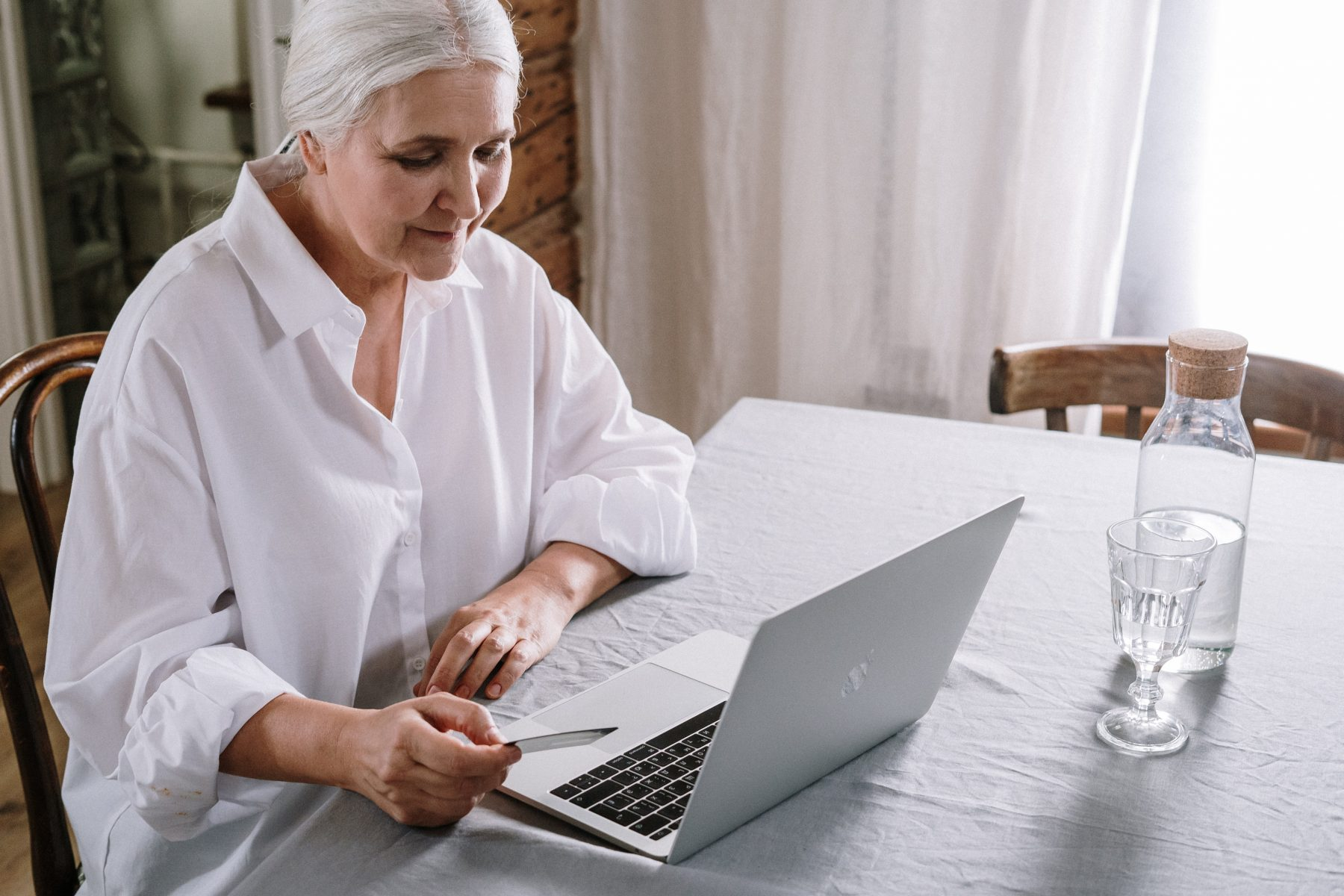 Old woman on her laptop